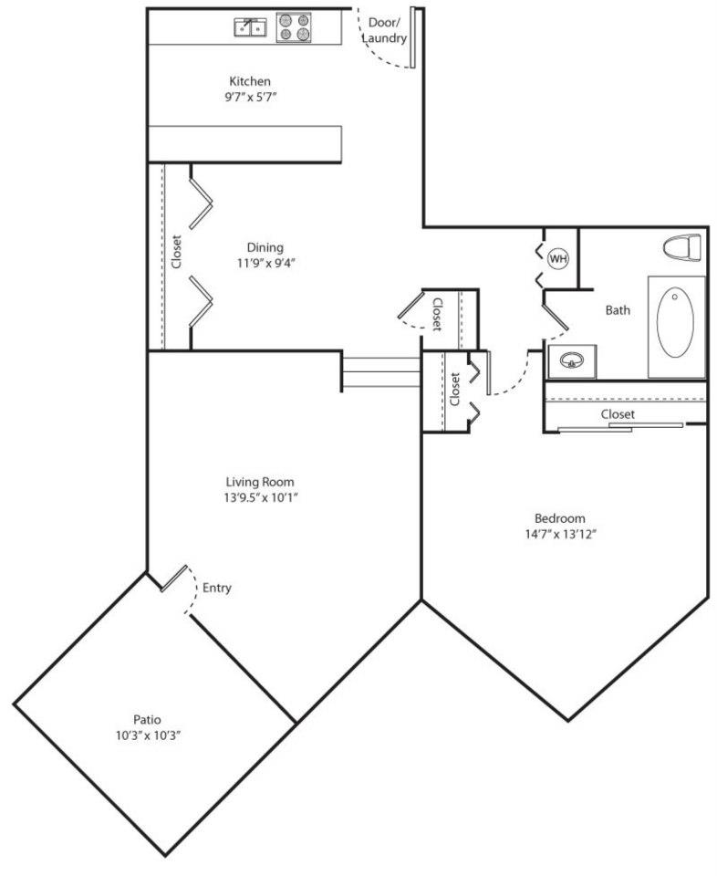 Alder Floor Plan - 1 bed 1 bath / 814 sqft