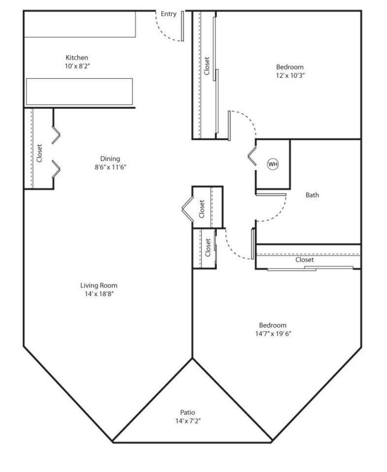 Elm Floor Plan - 2 bed 1 bath / 980 sqft