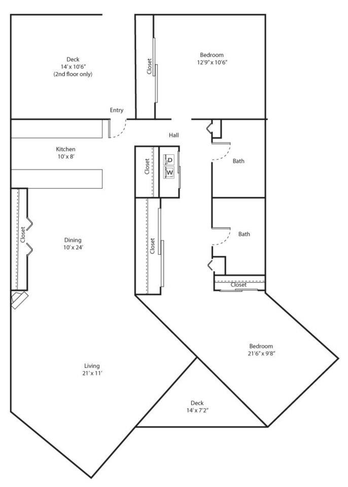 Juniper Floor Plan - 2 bed 2 bath / 1200 sqft