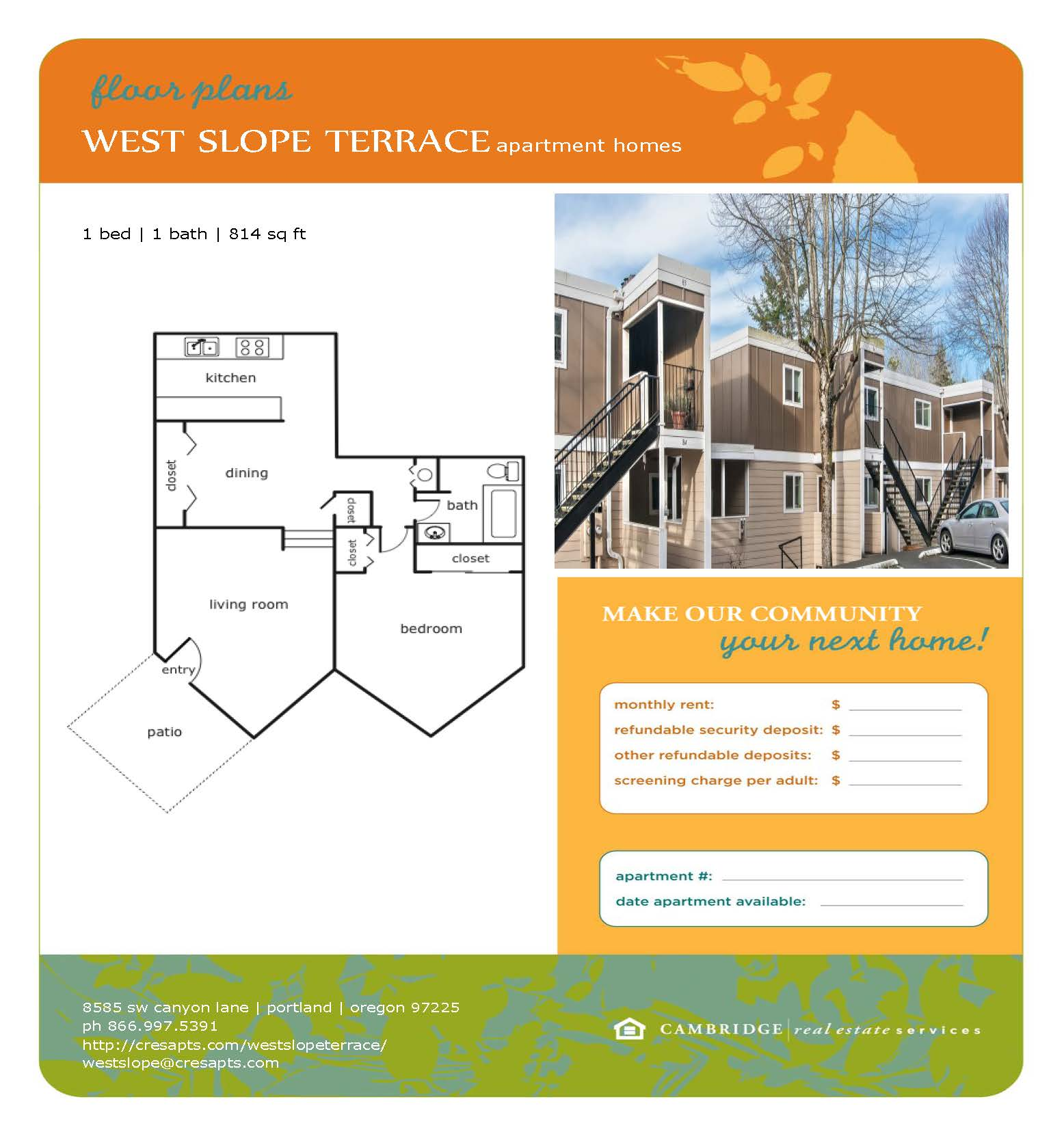 West Slope Floor Plan 1 Flyer