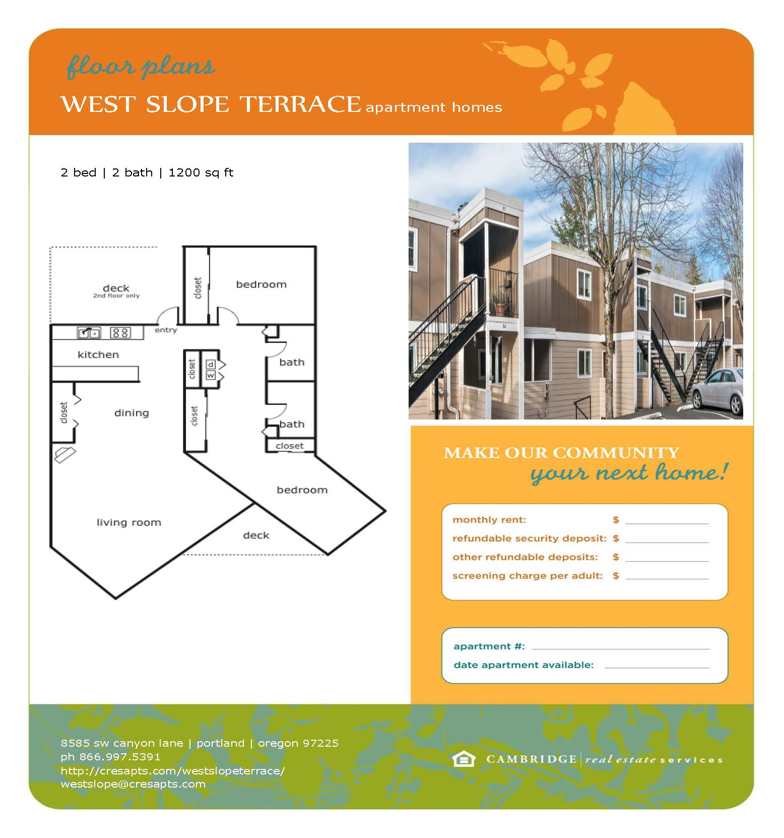 West Slope Floor Plan 3 Flyer
