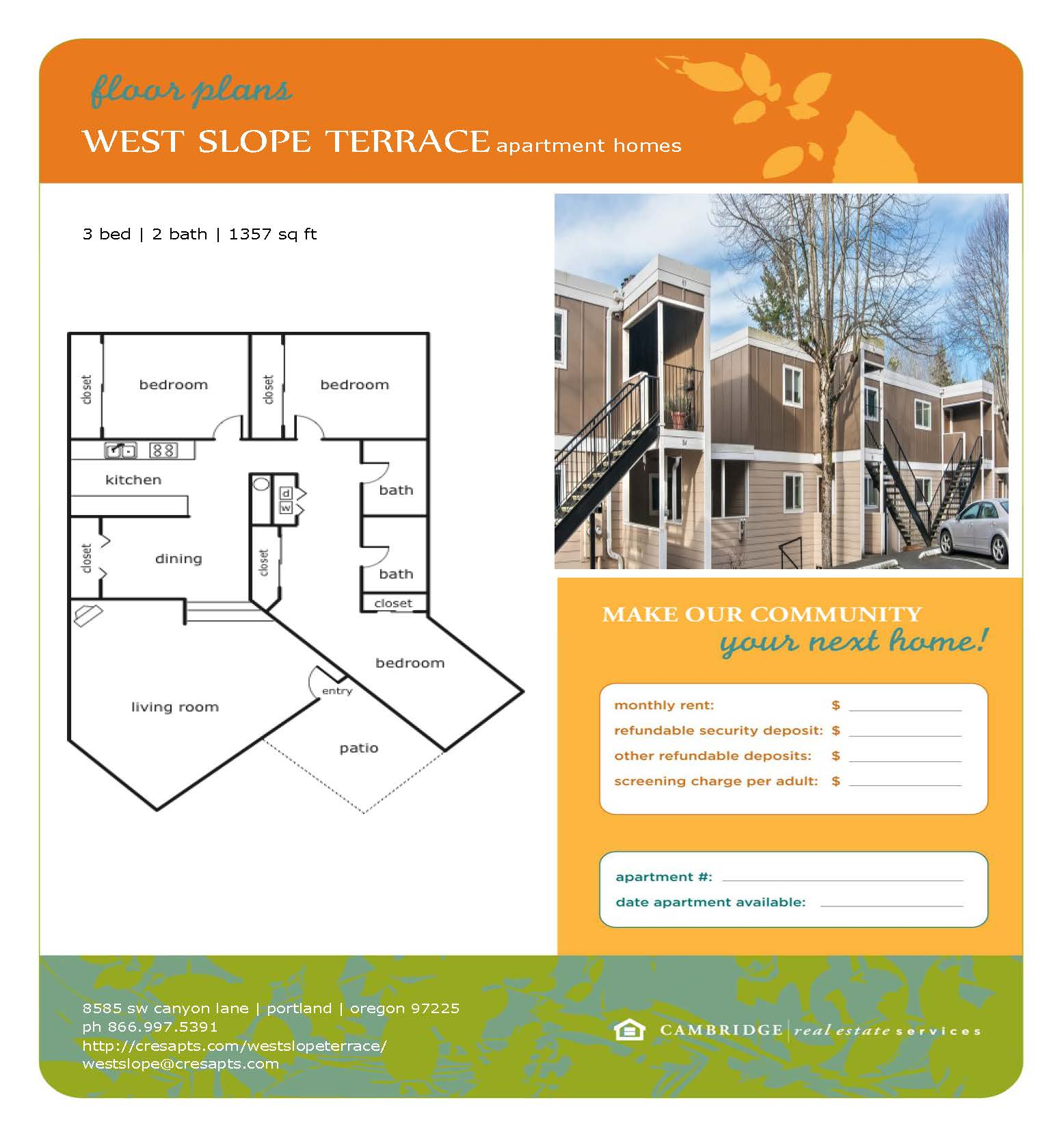 West Slope Floor Plan 4 Flyer