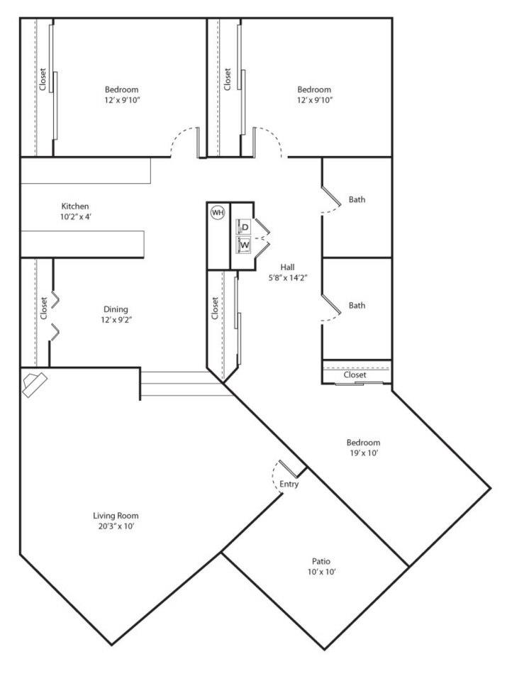 Willow Floor Plan - 3 bed 2 bath / 1357 sqft